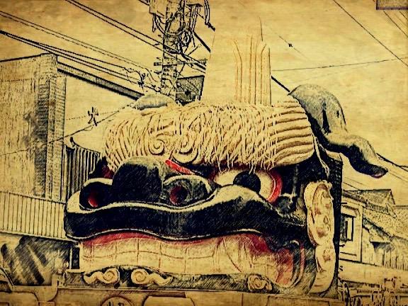 野田市仲町のブラック獅子みこし
